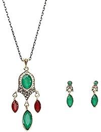 Bobury Diamantes de Imitación Retro de Estilo étnico Conjunto de Joyería Gota cuelgan de Las Mujeres Pendientes del Collar de la Exageración Kit Señora Gift