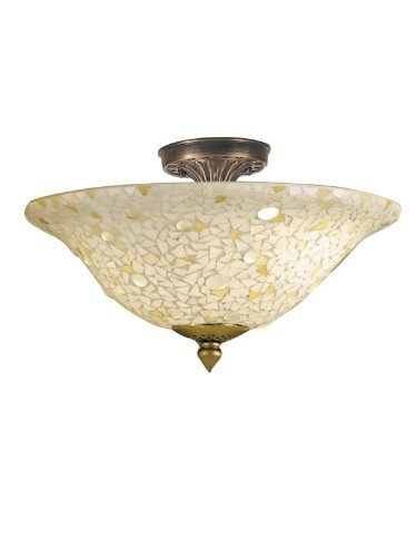 Dale Tiffany Flush (Dale Tiffany 8565/3LTF Mosaic/Clear Flush Mount Light, Antique Bronze and Mosaic Shade by Dale Tiffany Lamps)