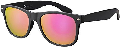 La Optica Original UV400 CAT 3 Unisex Sonnenbrille - Einzelpack Matt Schwarz (Gläser: Pink/Rosa Verspiegelt)