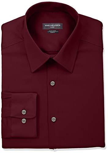 Van Heusen Herren Flex Collar Slim Fit Stretch Dress Shirt Smokinghemd, Mulberry, 44 cm Hals 86 cm-89 cm Ärmel (Van Heusen-hemd Slim Fit)
