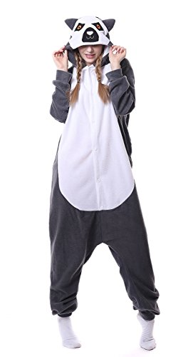 sex Jumpsuit Tier Cartoon Fasching Halloween Pyjama Kostüm Onesie Fleece-Overall Schlafanzug Grau AFFE Medium ()