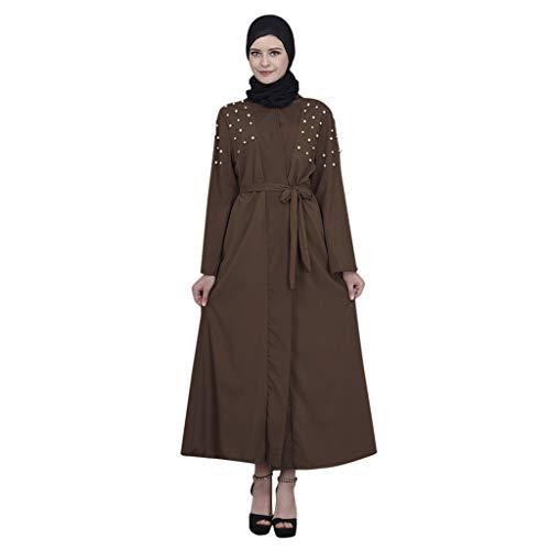 QinMM M-Muslim Damen Strickjacke Robe Bestickt Handgefertigte Perlen Kleid - Arabische Islamische Spitze Bestickt Gebet Cover Mit Gürtel S-XXL -