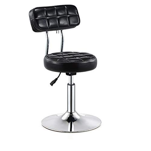Möbel Hocker Barhocker Stuhl Runde PU Rückenlehne verstellbare Swivel Gas Lift, Höhe 40-55cm für Küche Frühstück Bar Hocker Verchromte Platte Basis max. Laden Sie 150 kg (Farbe : SCHWARZ)