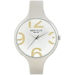 Mike Ellis New York Women's Quartz Watch with Silver Dial Analogue Display and Imitation Leather Taupe - SL3181N