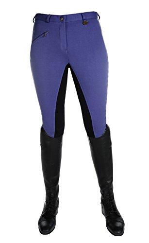 HKM Vollbesatz Reithose Wülfer X mit elastischen Beinabschluss für Damen, Mittelblau mit schwarzen Besatz, Größe: 40