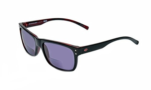 Sonnenbrille mit Leseteil EcoClear/Lesebrille Lesehilfe Bifokal Wayfarer Bifokal/Schwarz-Rot/Inkl....
