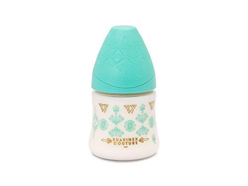 Babyflasche Premium SUAVINEX Couture 150ml, Design Ethnic in Ton hellgrün und vergoldet, mit Sauger rund Flow Motion aus Silikon, ab 0Monaten. (Schnuller Motion)