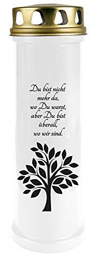 HScandle Grablicht (Weiß) ca. 100h Brenndauer / 4-Tage Brenner - Motiv: Baum, in vielen Varianten -
