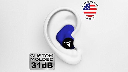dDecibullz Custom Bouchons d'oreilles moulés: Taille Unique tous les bouchons d'oreille, Voyage, Travail, de sécurité Taille unique bleu