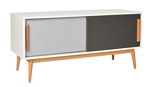 ts-ideen Sideboard Kommode Lowboard TV-Bank Weiss Grau Dunkelgrau 120 x 55 cm
