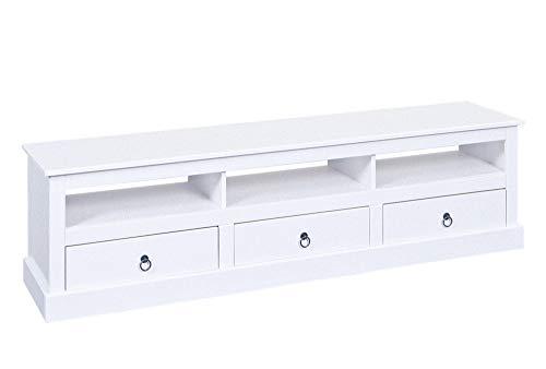 TV Pall Tisch 3 Schublade 3 Fächer Weiss Fernsehtisch Sideboard Kommode - Kinder-tv-tisch
