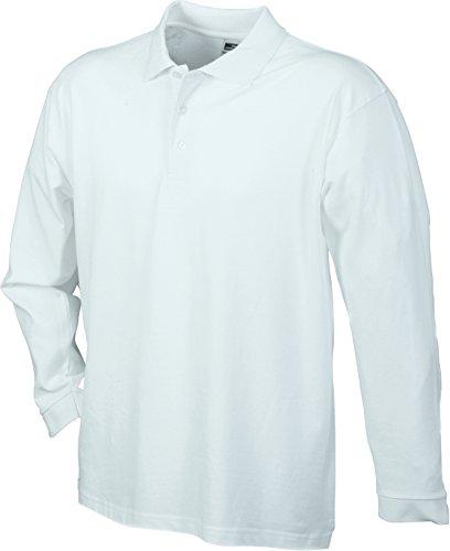 James & Nicholson Piqué Long-Sleeved, Polo Uomo Bianco