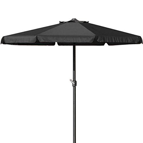 Deuba Parasol Noir - Ø 330cm - avec manivelle - Jardin - Terrasse protège du Soleil