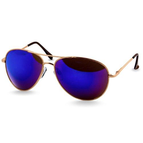Caspar SG013 klassische Unisex Retro Piloten Sonnenbrille, Farbe:gold/blau verspiegelt