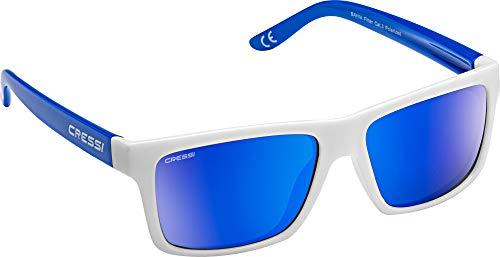 Cressi Unisex- Erwachsene Bahia Sunglasses Sport Sonnenbrillen, Weiß/Royal/Spiegel Linse Blau, One Size