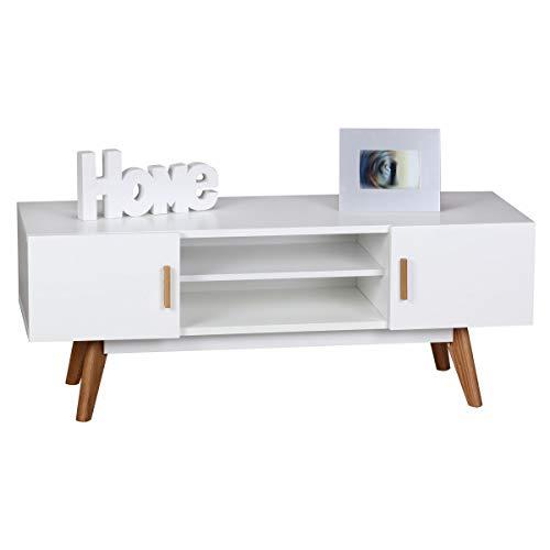 KS-Furniture SCANIO Meuble TV Bas rétro en Bois MDF avec 2 Portes et Compartiment Blanc 120 cm