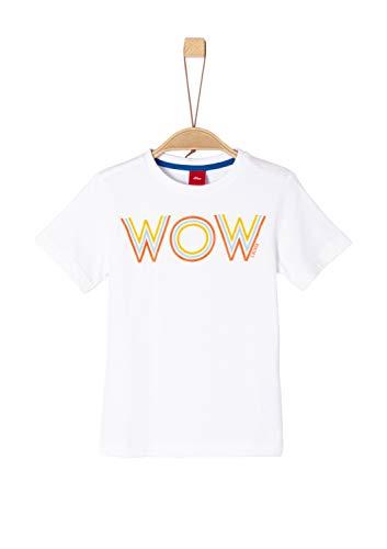 s.Oliver Jungen 63.902.32.3239 T-Shirt, Weiß (White 0100), 128 (Herstellergröße: 128/134/REG)