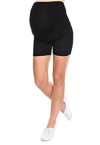 MijaCulture Komfortable Kurze Umstandsleggings für Schwangere Shorts Leggings Mama Mia 1053 (M/L, Schwarz)