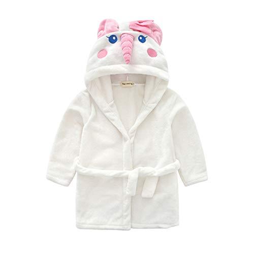 ALLAIBB Baby Kinder Bademantel Weiß Cartoon Unicorn Wrap Kleid Bademantel Pyjama Flanell Baumwolle Size S (rosa) -
