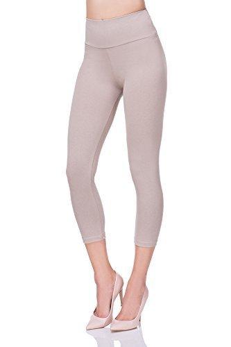 futuro fashion court 3/4 longueur taille haute Legging avec panneau de contrôle actif Pantalon lwp34 Beige