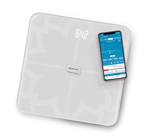 Medisana BS 450 Connect digitale Körperanalysewaage bis 180 kg - weiße Personenwaage zur Körperfettmessung mit unsichtbarem Display - Körperfettwaage mit Bluetooth App - 40511