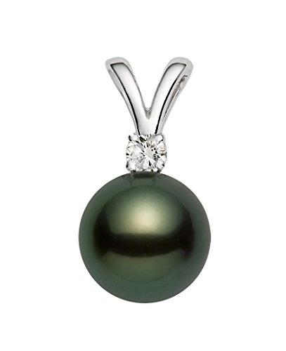 14K Or Blanc Diamant Noir Pendentif avec perle de culture de Tahiti de qualité AAA