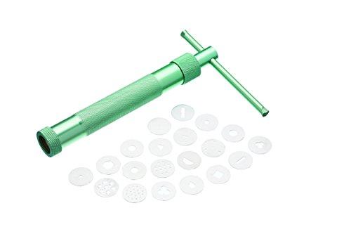 Kitchen Craft Glasur-Spritzpistole Sweetly Does It mit 20 Aufsätze, Edellstahl, grün, 12 x 17 x 22 cm