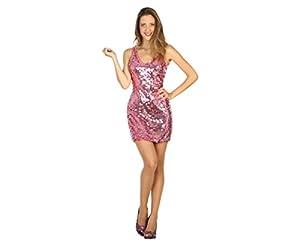 Atosa-30561 Disfraz Vestido Mujer Disco, Color Rosa, M-L (30561)