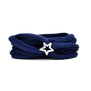 Armband Wickelarmband aus Stoff weich dunkelblau oder in Wunschfarbe 60 Varianten mit versilbertem Stern aus Metall individuelle Geschenke mit Herz und Liebe