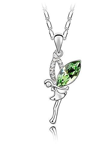 FANSING Bijoux Cadeau Tuteur L'Ange Fée Gardien Cristal Colliers 3.8*1.8cm Pendentifs Pour Filles 40+5cm