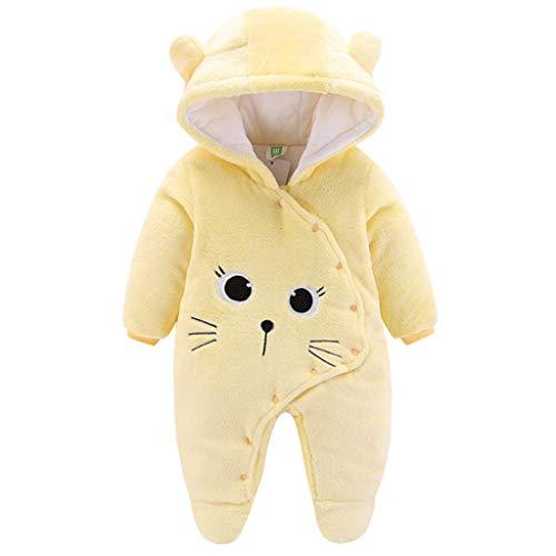 Baby Winter Fleece Overall Mit Kapuze Mädchen Jungen Schneeanzüge Warm Strampler Outfits Gelb 0-3 Monate (59/44)