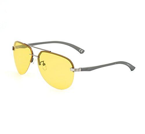 Golf-zubehör-geschenke (DAWILS Unisex Aviator Stil Polarisierte Sonnenbrille Herren und Damen UV400 Schutz Verspiegelt Pilotenbrille Gelb Objektiv Nachtfahrbrille Fahrer Glasses)