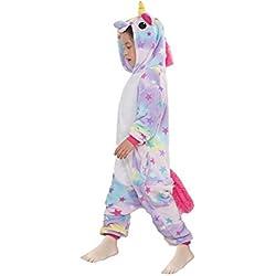 Z-Chen Disfraz Pijamas Animal para Niño Niña Disfraz Halloween, Unicornio Estrella, 9-11 Años
