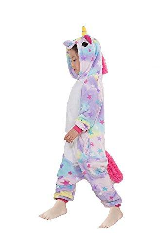 Z-Chen - Kinder Pyjama Strampler Schlafanzug Tier Kostüm für Halloween Karneval Fasching, Einhorn Stern Kostüm, Gr. 140/146 (Herstellergröße 125/140)