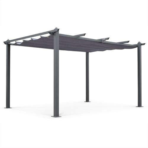 Alice's Garden Pergola Aluminium - Condate 3x4m - Toile Grise - Tonnelle idéale pour Votre terrasse, Toit Retractable, Toile coulissante, Structure Aluminium