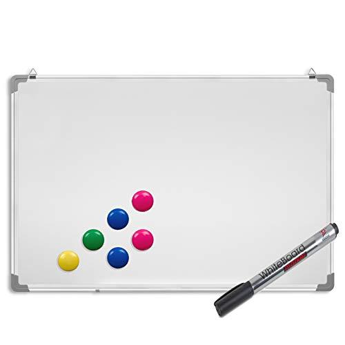 Whiteboard inkl. Marker und Magnete :: Magnettafel mit Alurahmen, magnetisch 60 x 45 cm