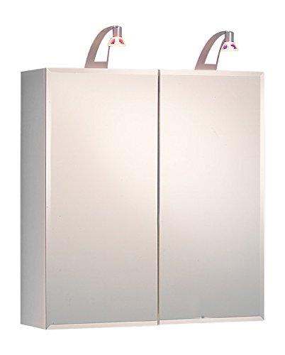 Kesper Badmöbel 8211000000001002 Spiegelschrank Ravenna, 2 Türen, 2X 20 Watt Halogenla 70 x 65 x 20,5 cm, weiß