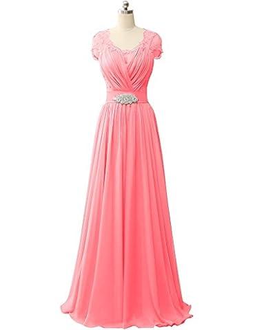 HUINI Spit ?rmel V-Ausschnitt Chiffon Prom Abendkleider Hochzeit Formale Partei Kleider Size 52