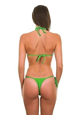 Mpitude Free Size Green Micro Bikini Set Lingerie Bra Panty String Bikini Swim Suit Women Bikini Beachwear