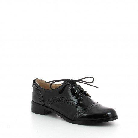 Ideal Shoes - Chaussures Derbies pour femme à talonnettes Mona Noir