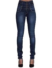Leslady Mujer Pantalones Vaquero Skinny Push Up Pantalones Elástico Jeans Cintura Alta Vaqueros Altos Ajustados Pantalones lápiz Tejanos