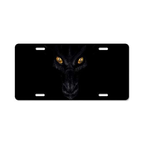YgDcar Dragon Lurking in The Dark Front Metal Aluminum License Plate Vanity car Tag Home Door Sign 6