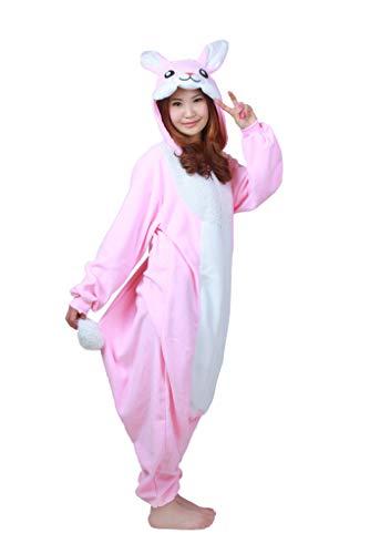Fandecie Tier Kostüm Tierkostüm Tier Schlafanzug Hasen Kaninchen Pyjamas Jumpsuit Kigurumi Damen Herren Erwachsene Cosplay Tier Fasching Karneval Halloween (Rosa Hasen, M:Höhe 160-169cm)