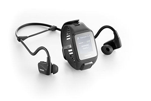 TomTom Spark 3 Multi Sport GPS Fitness Watch with Music and Bluetooth Headphones – Large Strap, Black