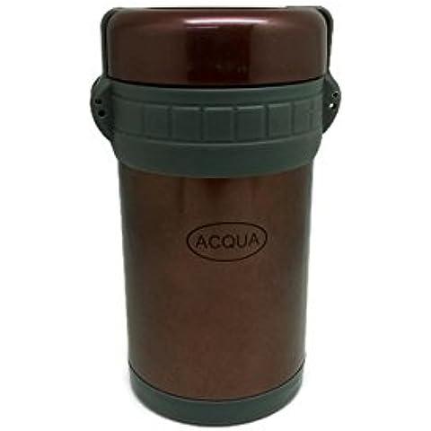 Acqua Delight Kit per pranzo, 4contenitori (1500Ml), 2pezzi, in acciaio inox 18/8bottiglie (500ml e 300ml), Borsa con tasca (Blu) Brown