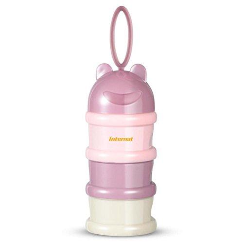 3-lagiger Milchpulverspender Box ohne Mischung und Verschütten BPA-frei, stapelbar, mit Griff, Pink