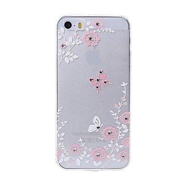 Ultima cassa del telefono di alta qualità farfalle modello del diamante di swarovski rilievo laser tocco per il iphone 5 / 5s ( Modello compatibile : IPhone SE/5s/5 )