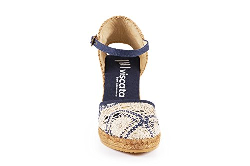 VISCATA Satuna Ankle-Strap, Closed Toe, Classic Espadrilles with 3-inch Heel Made in Spain Blanc - Blanc/bleu marine