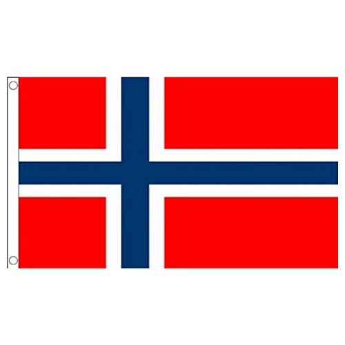 Norwegen-Flagge 3x5ft / 90x150cm Große Norwegen-Staatsflagge mit Canvas-Header und Messing Tüllen für Parades Bar Schulsport Events Festival Feste Home Office Decor