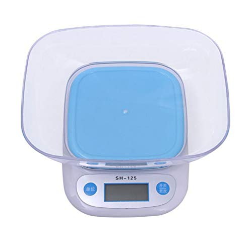 BESTONZON Küchenwaage Digitalwaage Präzisionswaage 5KG/1g Elektronische Waage mit Schale ohne Batterie (Himmelblau)